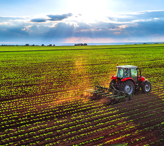 Farm Tractor Plowing Crops