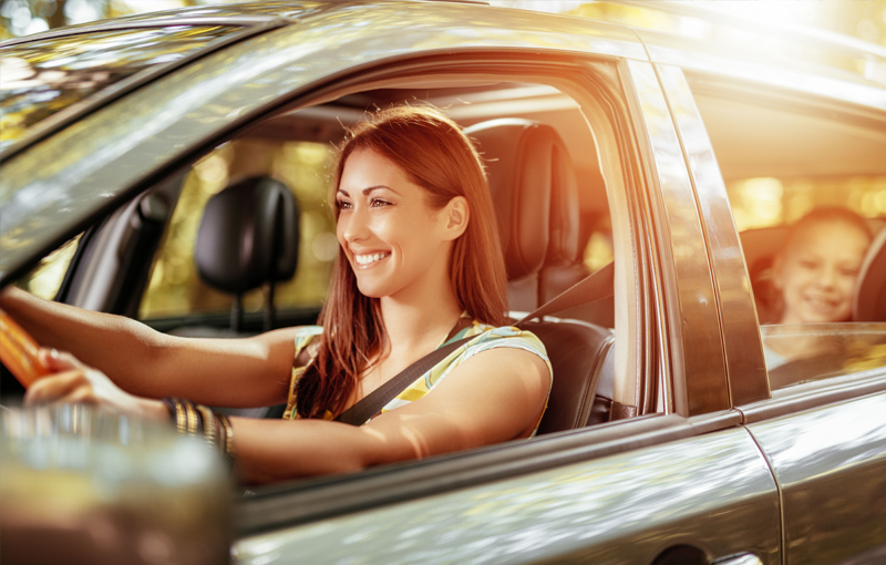Woman Driving Insured Car